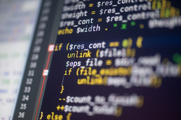 Código php em um monitor