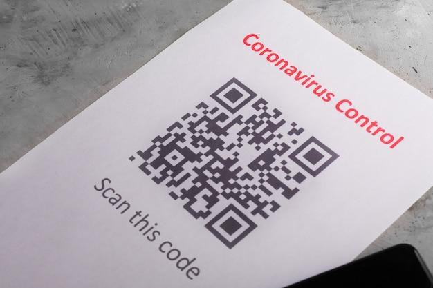 Código qr como parte da proteção contra o coronavírus covid-19