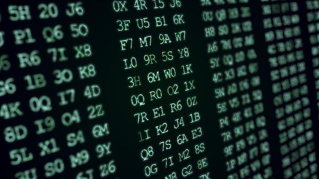 Código verde abstrato hexadecimal executando uma tela de computador.