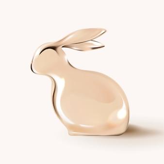 Coelhinho da páscoa 3d com tema de celebração de férias de ouro de luxo