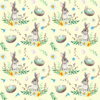 Coelhinho em aquarela com ovos de desenho padrão em fundo amarelo. conceito de páscoa.