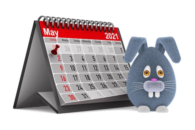 Coelho de desenho animado e calendário no espaço em branco. ilustração 3d isolada