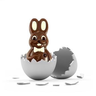 Coelho de páscoa de chocolate com casca de ovo quebrada