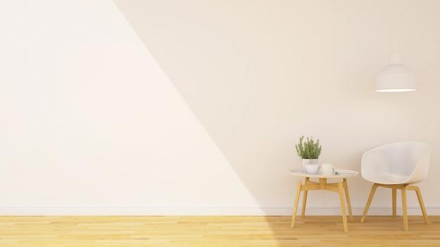 Coffee shop ou sala de estar e espaço para obras de arte - renderização em 3d