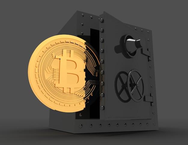 Cofre de metal e bitcoin. ilustração renderizada 3d