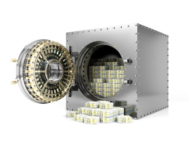 Cofre do banco e porta aberta do cofre de banco que revela pilhas de cédulas do dólar, rendição 3d