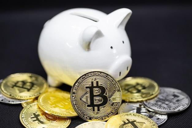 Cofrinho branco e as moedas criptográficas de ouro ficam sobre o fundo preto para economizar dinheiro, riqueza e conceito de finanças e o copyspace para design.
