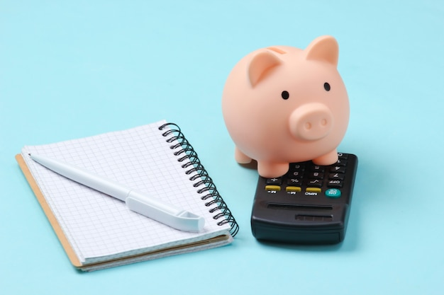 Cofrinho, caderno e calculadora em azul