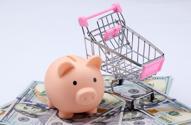 Cofrinho, carrinho de compras com closeup de notas de cem dólares.