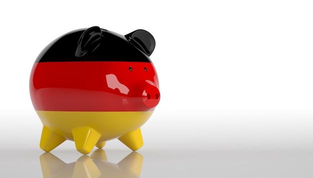 Cofrinho com bandeira da alemanha. renderização 3d