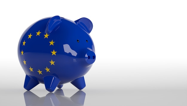 Cofrinho com bandeira da união europeia. renderização 3d