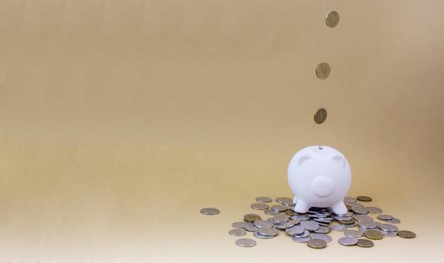 Cofrinho com dinheiro e moedas