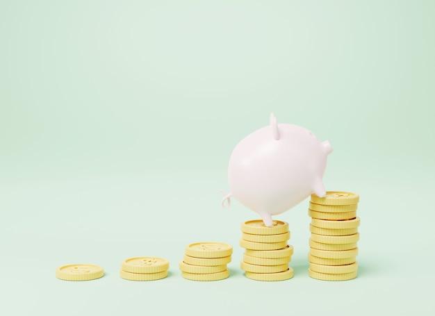 Cofrinho com gráfico de crescimento de dinheiro em moeda ilustração de renderização 3d