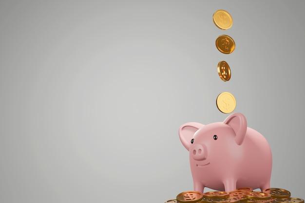 Cofrinho com moedas de ouro caindo, economizando ou economizando o conceito de dinheiro, 3d render