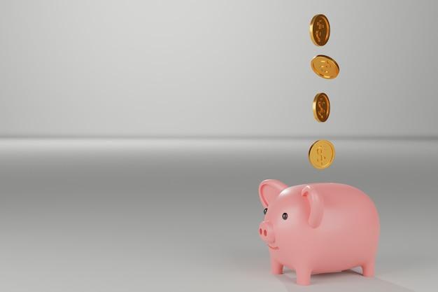 Cofrinho com moedas de ouro caindo, renderização 3d.