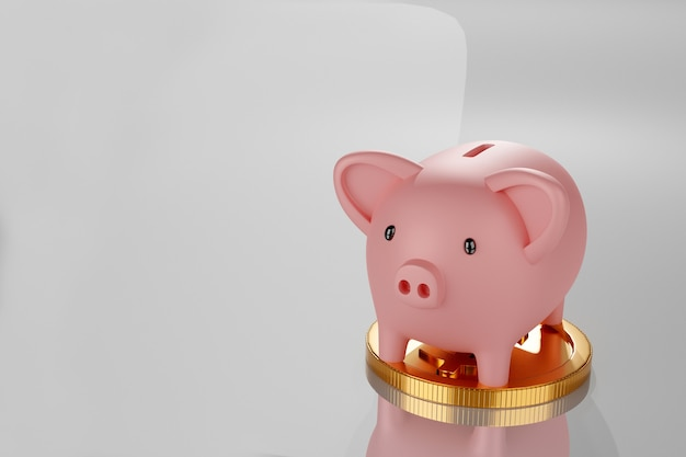Cofrinho com pilha de moedas de ouro, renderização 3d.