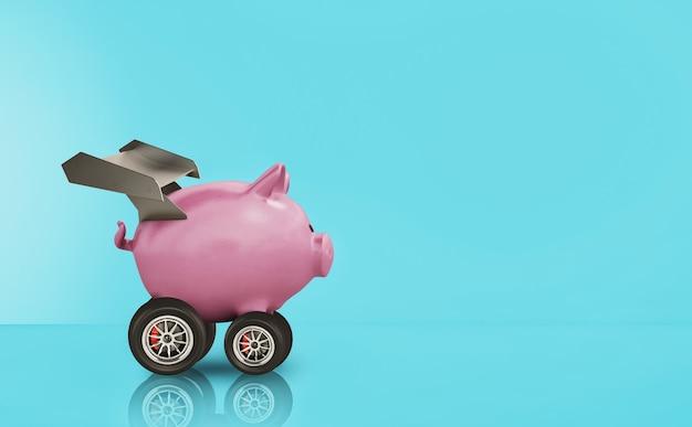 Cofrinho com roda como um carro. conceito de aumento rápido de dinheiro.