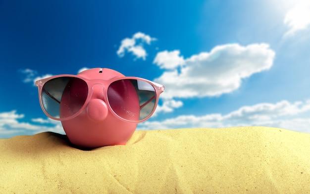 Cofrinho de verão com óculos de sol na praia