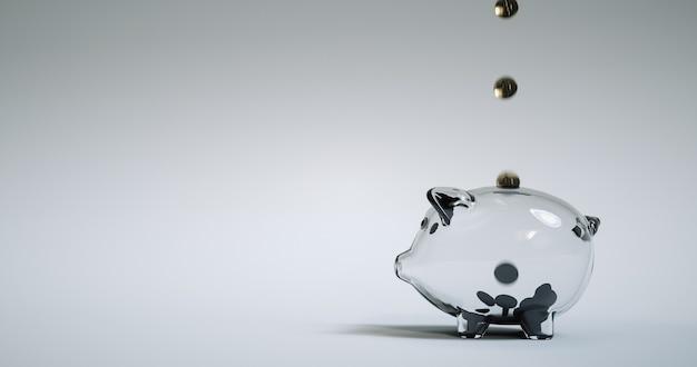 Cofrinho de vidro de preenchimento de moeda dourada. renderização 3d.