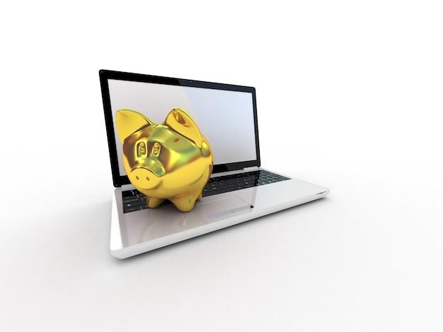 Cofrinho dourado e laptop. ilustração 3d