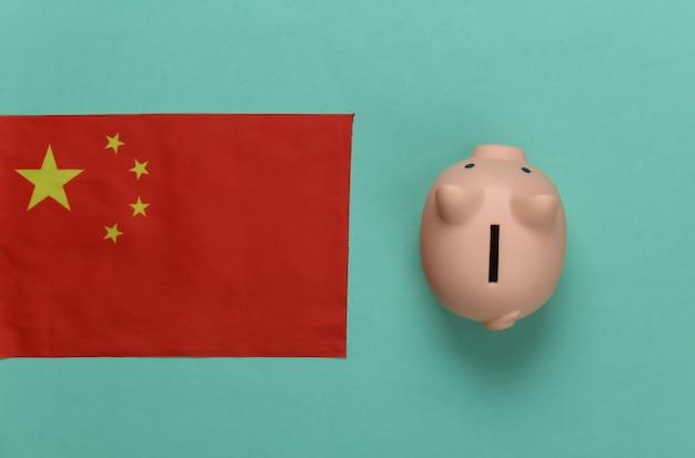 Cofrinho e bandeira da china em verde menta
