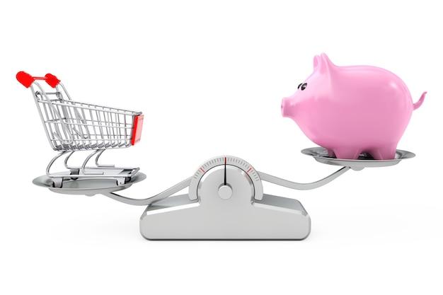 Cofrinho e carrinho de compras balanceamento em uma escala de ponderação simples em um fundo branco. renderização 3d.