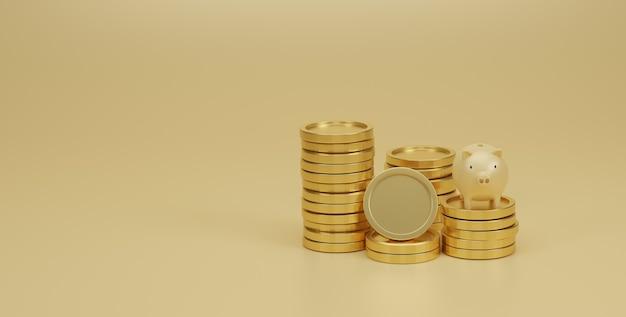 Cofrinho e pilha de moedas de ouro sobre fundo amarelo. economizando dinheiro e o conceito de planejamento financeiro. 3d render.
