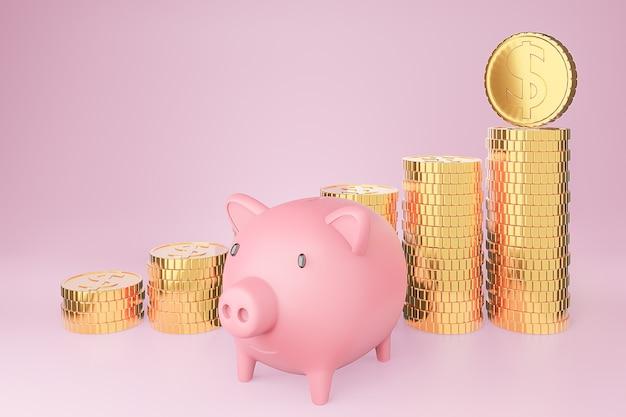 Cofrinho e pilha de moedas de ouro