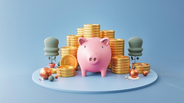 Cofrinho e pilha de moedas em fundo azul