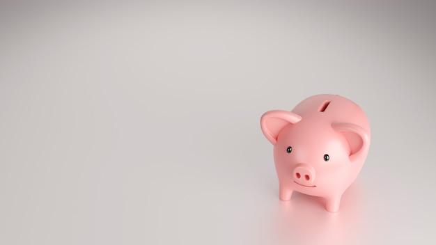 Cofrinho em fundo branco, economizando ou economizando dinheiro, renderização 3d.