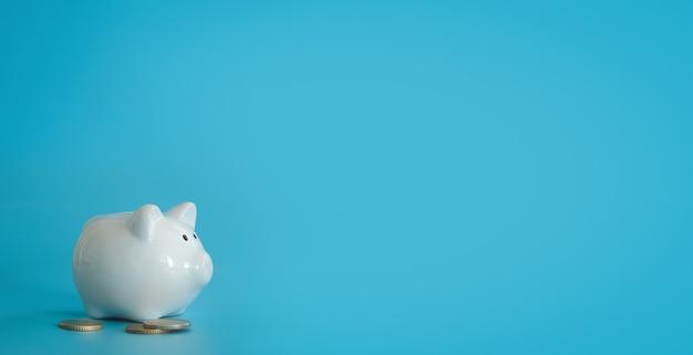 Cofrinho para economizar dinheiro. riqueza, orçamento, investimento, conceito de finanças. caixa de dinheiro, cofrinho sobre o fundo azul. espaço livre para texto, copie o espaço.
