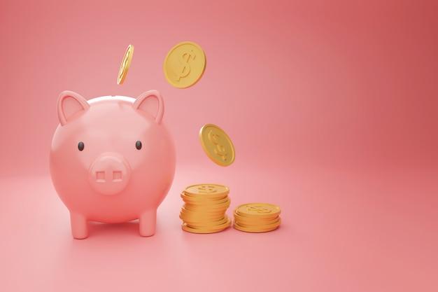 Cofrinho rosa com moedas de ouro em fundo rosa para negócios e conceito financeiro, renderização em 3d