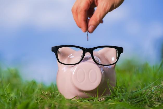 Cofrinho rosa com óculos na grama e mão colocando em uma moeda