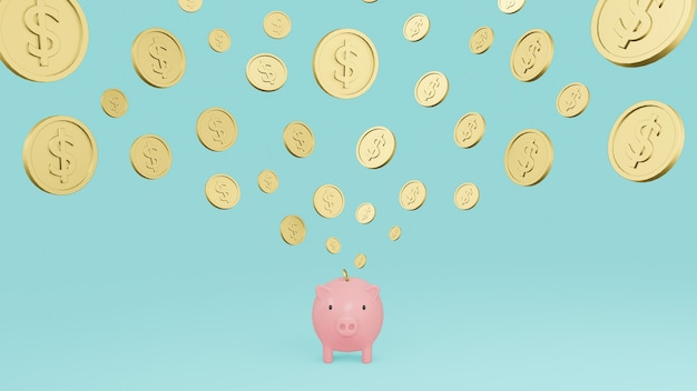 Cofrinho rosa e moedas de ouro caindo com cifrão com fundo ciano. ilustração 3d render