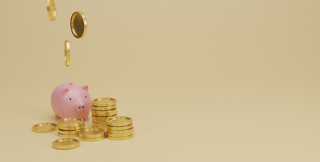 Cofrinho rosa e moedas de ouro empilhadas em amarelo