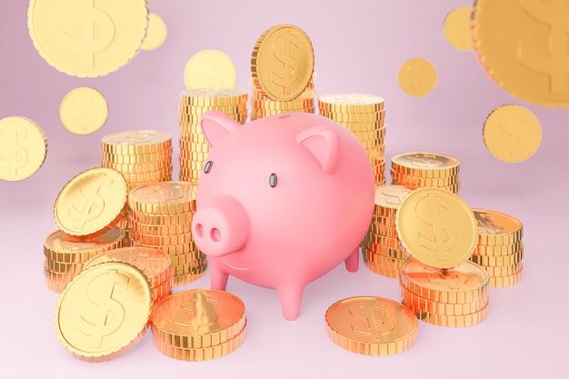 Cofrinho rosa e muitas torres de moedas de ouro. renderização 3d