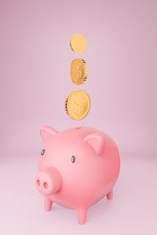 Cofrinho rosa e muitas torres de moedas de ouro