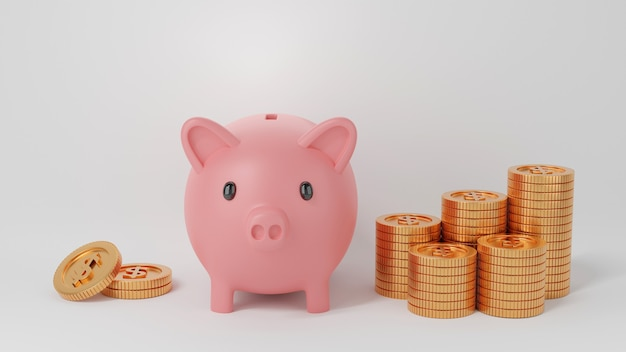 Cofrinho rosa e pilhas de moedas de dólar americano douradas isoladas no fundo branco, economizando dinheiro