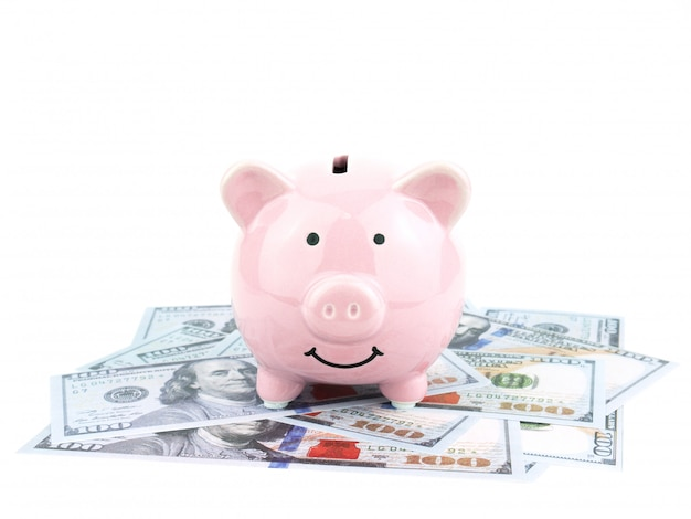 Cofrinho rosa na nota de dólares isolado no fundo branco, conceito de poupança