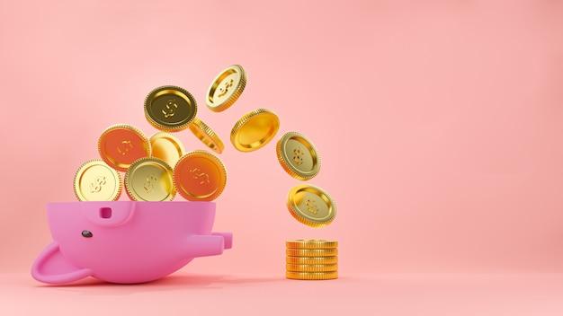 Cofrinho rosa pela metade com o fluxo de moedas de ouro e uma pilha de dinheiro