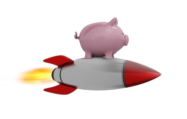 Cofrinho voar em um foguete. conceito de aumento rápido de dinheiro.