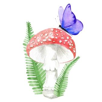 Cogumelo da floresta com borboleta