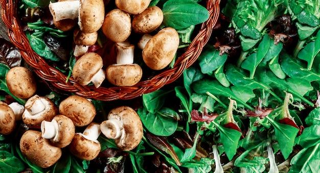 Cogumelos champignon, em uma salada fresca folhas
