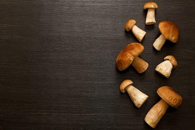 Cogumelos da floresta branca em um fundo de madeira cogumelos em um fundo de madeira com um lugar