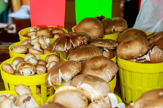 Cogumelos do grupo em caixas de madeira no mercado,