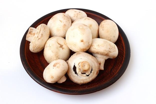 Cogumelos em um prato isolado