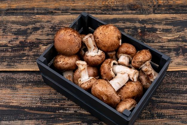 Cogumelos frescos em caixa de madeira
