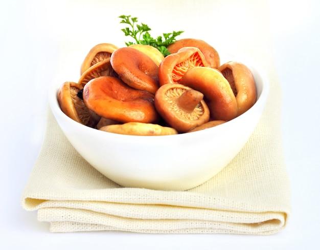 Cogumelos marinados com tampa de leite de açafrão