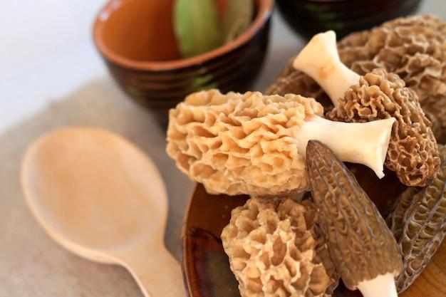 Cogumelos morel frescos em um prato
