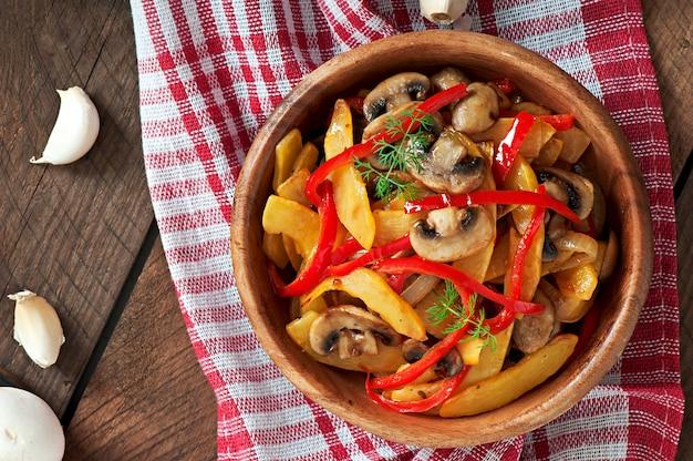 Cogumelos salteados com abóbora e pimentão